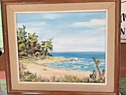 Vintage Clarence Dreisbach Oil On Board Painting Signed Ocean Florida Palm Trees