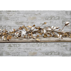 New Cotton Ball Pod Garland 5 Ft. Leaves Farmhouse Decor Wreath Swag Country
