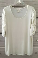 😎HOT IN HOLLYWOOD PUFF SLEEVE TUNIC TOPTEE SZ 1X  Shiny Golden Cream  SO CUTE! $12.99