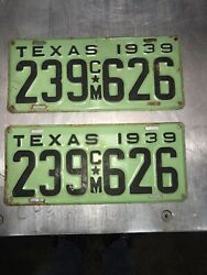 1939 Texas Commercial License Plate Set Very Nice Original Paint
