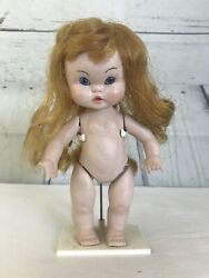 Antique Jointed Bisque Girl Doll 7 Redhead Wig Russian Mad Adorable Chubby Face