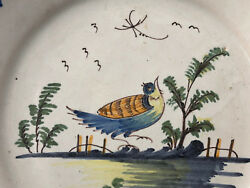 Plate Earthenware Regional Polychrome Earthenware Old Antique French
