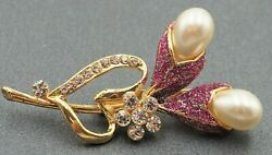 Womens Faux Pearl Rhinestone Glitter Flower Fashion Brooch Collectable Jewellery