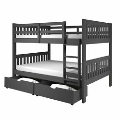 Full/full Mission Bunk Bed With Dual Underbed Drawers Dark Grey Finish