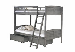 Twin/twin Louver Bunk Bed With Dual Under Bed Drawers In Antique Grey Finish
