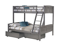 Twin/full Louver Bunk Bed With Dual Under Bed Drawers In Antique Grey Finish