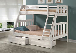 Twin/full Bunk Bed Embossed In Ice Grey Finish W/dual Underbed Drawers