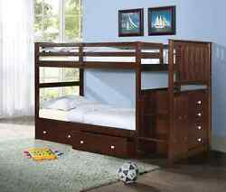 Mission Stairway Bunk Bed With Dual Underbed Drawers Dark Cappuccino Finish