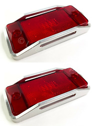 Pair Rear Red Led Side Markers W/ Aluminum Raised Bezels For 1970-77 Ford Bronco