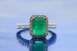 Christmas1.00ct Natural Diamond 14k Solid Whitegold Emerald Cocktail Ring 7 To 9