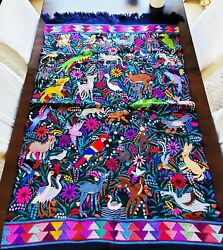 Tapestry or art wall decor Black Chiapas#x27; jungle animals hand made embroidered.