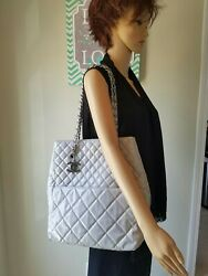 CHANEL Quilted In The Business North South Gray Patent Leather Tote Bag!  HTF💖 $1,400.00