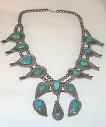 Pawn Navajo Turquoise Bench Bead Sterling Silver Squash Blossom Necklace 4 Naja