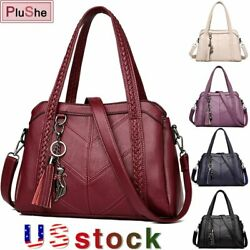 Women Soft Leather Handbag Tassel Tote Bags Luxury Leather Weave Shoulder Bags $19.99