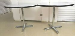Pair Of Mid Century Modern Knoll Style Round Chrome Base Cafe Table Tall Minty