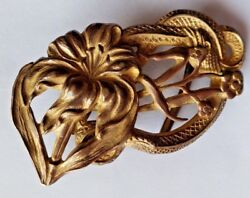 Vintage Art Nouveau Colonial Brand Brass Lily And Snake Belt Buckle