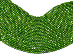 Aaa+ Natural Chrome Diopside Gemstone 2mm-3mm Faceted Rondelle Beads 13 Strand