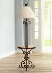 Traditional Floor Lamp with Table Iron Rust Wooden for Living Room Reading