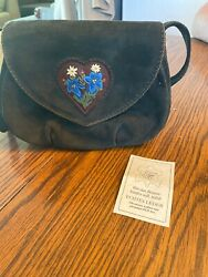 Vintage Teufel Design Made In Germany Brown Suede Leather Heart Purse  $27.99