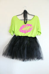 Smile Fish 80#x27;s Costume Neon Green Off Shoulder Top Black Tutu Fishnet Gloves