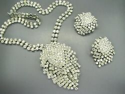 Weiss White Rhinestone Glamorous Necklace Brooch Earrings Set Dripping Stones