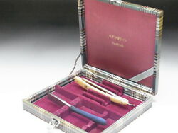 Very Rare Antique Box For Straight Razors Used At A Barber Shop In Japanf-119
