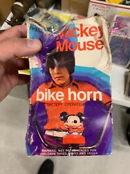 Vintage Mickey Mouse Battery Operated Bicycle Horn In Original Box Nos