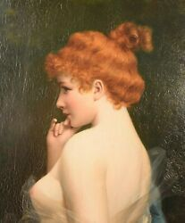 Superb Antique Oil Painting On Wood Panel Red Head Nude Moritz Stifter 1857-1905