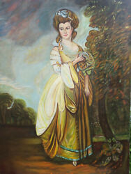Large Vintage Painting Of Young Wealthy Aristocrat Victorian Lady Woman Artist
