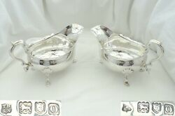 Rare Heavy Pair Of Edwardian Hm Sterling Silver Sauce Boats 1909