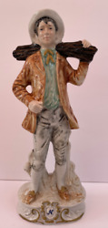 Capodimonte Porcelain Figurine Man Carrying Log 12 1/2 In
