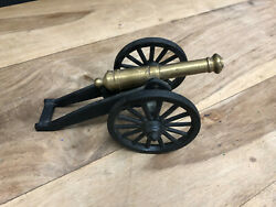 Vintage Toy Model Cannon Cast Iron And Brass Made In The Usa 8 1/2 Inches