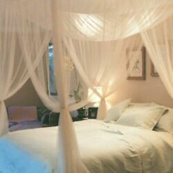 Bed Canopy Full Queen King Size Bedroom 4 Corner Post Mosquito Net Mesh Curtains