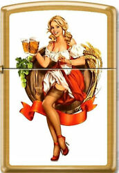 Zippo Lighter Pinup Girl Beer Girl Brushed Brass Case Limited Edition Rare
