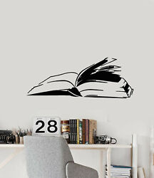 Vinyl Wall Decal Reading Room Open Book Shop Store Stickers Mural G3317
