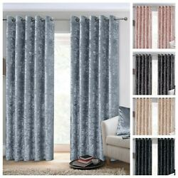 Crushed Velvet Curtains Luxury Thick Pair Ready Made Fully Lined Eyelet Ring Top