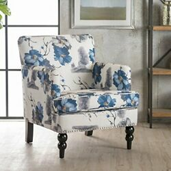 Upholstered Fabric Lounge Club Chair Armrest Accent Chair Floral Print Living