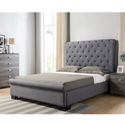 1piececontemporary Grey Tufted Fabric Headboard/footboard Full Size Platform Bed