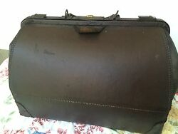 Antique Doctor Bag Brown Leather Cowhide Travel Suitcase