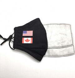 US amp; CANADA FLAG Designer Black Reusable Face Mask With 2 Filters 🇺🇸 🇨🇦 $9.50
