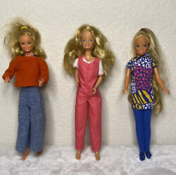 Vintage 1960s - 1980s Barbie Dolls Preowned Lot Of 3 Cute Casual Outfits