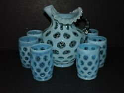 Vintage Fenton Coin Dot Pitcher And 6 Glasses