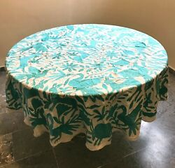 Tablecloth Round Green Aqua Embroidered Otomi Fabric Mexican Textile