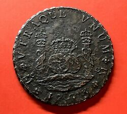 🔥very Rare🔥silver 8 Reales Philip V Year 1733 Mexico Mint Mf Saltwater Damage