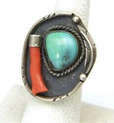 Vintage Turquoise Coral Branch Sterling Silver Feather Ring Sz 6.75 Southwestern