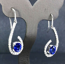 Black Friday 1.08ct Natural Diamond 14k Solid White Gold Sapphire Huggie Earring