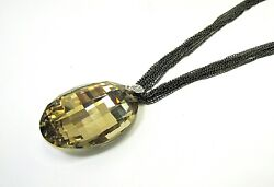Large Beige Champagne Color Glass Pendant On Multiple Rows Of Black Chain New