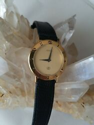 Mens Gucci Gold Plaque Ore 3000m Thin Dress Watch With New Battery $375.00