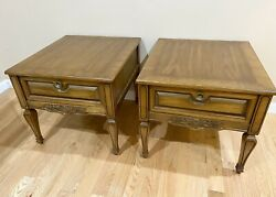 Vintage Mid-century Modern Weiman Wood End Side Tables With Drawers - Pair Of 2