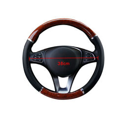 Wood Grain Steering Wheel Cover For Auto Car Suv Lux Grip - Black - Syn Leather